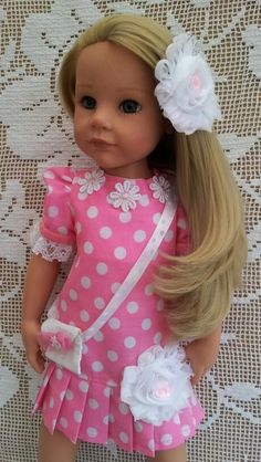 SalStuff Pink Polka Dress, Bag, Flower Clip Doll Gotz Designafriend American Gir
