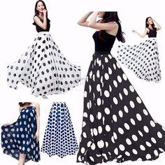 d3b83647a6da3 Women Chiffon Polka Dot Print Summer Skirt Boho High Waist Beach Long Maxi  Dress
