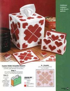 HEARTS TISSUE BOX AN COASTER 1/2