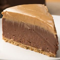 Peanut butter and chocolate are a classic dessert duo, but they really shine in this no-bake recipe. No-Bake Chocolate Peanut Butter Cheesecake will be the perfect finale to any scrumptious meal. Chocolate Peanut Butter Cheesecake, Peanut Butter Desserts, No Bake Desserts, Just Desserts, Dessert Recipes, Health Desserts, No Bake Chocolate Cheesecake, Recipes Dinner, Easy Peanut Butter Cake
