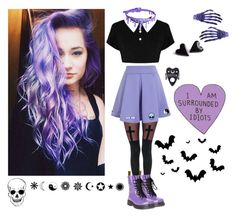 """Purple pastel goth"" by living-among-the-moon-and-stars ❤ liked on Polyvore featuring Leg Avenue, Chicwish, Killstar, Kreepsville 666, GAS Jeans, Stoney Clover Lane, YIN, Dr. Martens, pastelgoth and alternative"