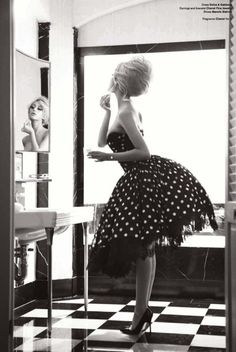 Every girl knows the experience of getting ready for a special event, even if it's a dinner with the girls. So don't be afraid to bring out your fancy dresses like this retro poka dot dress above.