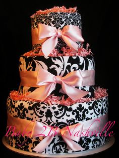 Pink and Black Damask Diaper Cake by Baby2BNashville on Etsy.....cute @Rachel Boyd