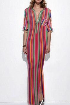 fd36a789e1cbe9 Band Collar Plain Raglan Sleeve Maxi Dresses. Maxi JurkenVrouwenmodejurkenCasual  JurkenHalve MouwenGestreepte ...