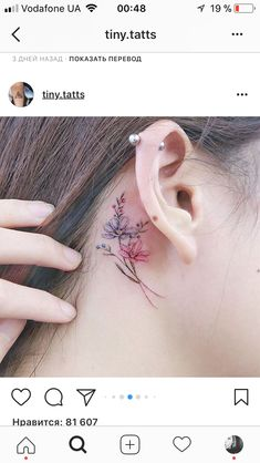 Behind the ear tattoo is absolutely beautiful – I love this too! Colored … – foot tattoos for women flowers Tattoos For Women Flowers, Beautiful Flower Tattoos, Foot Tattoos For Women, Small Flower Tattoos, Cute Small Tattoos, Trendy Tattoos, Mini Tattoos, Rose Tattoos, Body Art Tattoos