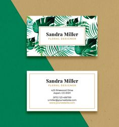Business Card Template - WATERCOLOR LEAVES