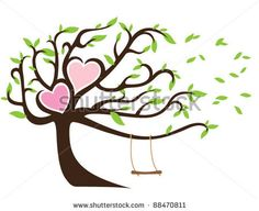 Windy Tree with Green Leaves Framing Two Hearts and Swing - stock vector