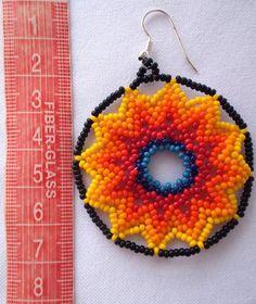 Mexican Huichol Beaded Star earrings by Aramara on Etsy Seed Bead Earrings, Star Earrings, Crochet Earrings, Loom Beading, Beading Patterns, Bead Jewellery, Beaded Jewelry, Native American Beadwork, Beading Projects