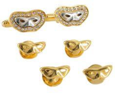 Cufflinks Shirt Studs Tuxedo Set Drama Mardis Gras Mask Gold Silver Tone