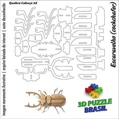 Risultati immagini per puzzle de madeira Cardboard Animals, Cardboard Paper, Cardboard Crafts, Paper Toys, Wood Crafts, Diy And Crafts, Origami, Cnc Laser, 3d Puzzel