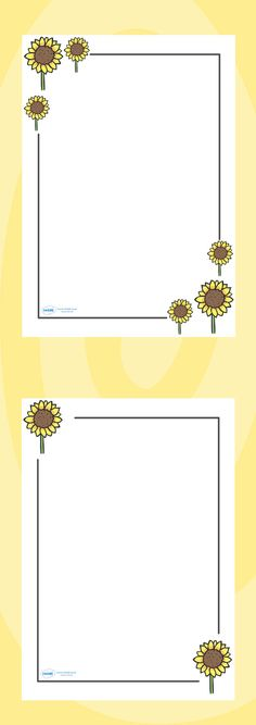 Twinkl Resources >> Sunflower Page Borders  >> Classroom printables for Pre-School, Kindergarten, Elementary School and beyond! Topics, Plants, Printable Writing Paper, Borders