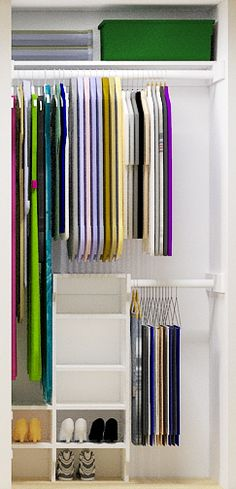 Small Closet Organizer your can build for less than $50. Really like this for the downstairs closet to make more space