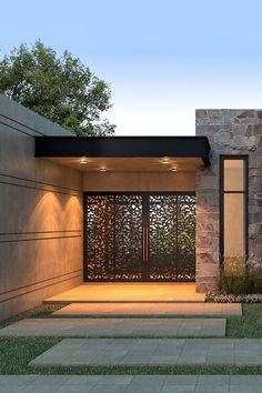 NF Arquitecta, Casa La Macarena - Play Tutorial and Ideas Modern House Facades, Modern House Design, Villa Design, Gate Design, Modern Exterior, Exterior Design, Terraced Landscaping, House Entrance, Modern Entrance