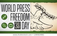 Scroll with dove holding an olive branch in hand drawn style and a greeting sign with a pen, microphone and camera icons to celebrate World Press Freedom Day this May. Freedom Day, Camera Icon, World Press, Hand Drawn, Hold On, How To Draw Hands, Royalty Free Stock Photos, Icons, Sign