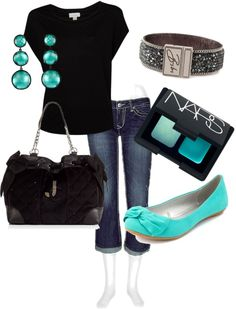 """Casual Turquoise & Black"" by heidi-baptista-benavides on Polyvore"