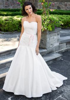 Floor Length Sleeveless Satin & Lace Mermaid Scoop Natural Waist Wedding Dresses - 1300301957B - US$249.99 - BellasDress
