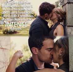 A kiss in Allegiant and in the movie.