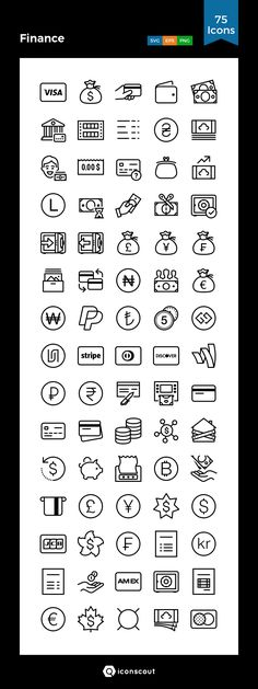 Finance   Icon Pack - 75 Line Icons
