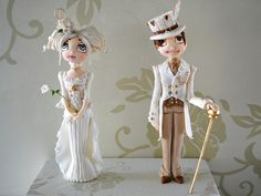 Steampunk Bride and Groom Figurines, taught by Trina Thomson at Fair Cake this autumn