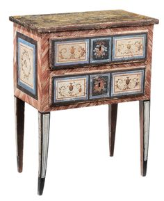 Fine Italian Neoclassical Paint-  Decorated Commode - Lot 549 of September 2012 Auction - Finely painted in the Roman taste with urn and wreath decoration, blue, brick red and cream paint on faux-marbled ground, 31 x 24 x 14 in. - Estimate $8,000 to $10,000