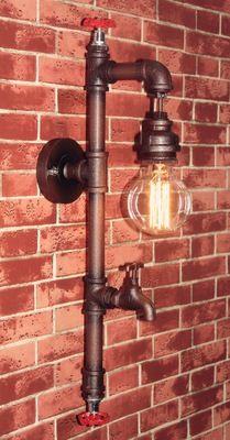 loft美式乡村工业风铁艺水管壁灯爱迪胜单头酒吧水龙头复古