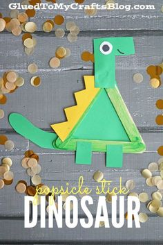 Popsicle Stick Dinosaur Kid Craft is part of Kids Crafts Dinosaurs Children What kid doesn& love dinosaurs And with this kid craft being simple to put together parents and caretakers will love i - Popsicle Stick Crafts For Kids, Easy Crafts For Kids, Summer Crafts, Toddler Crafts, Craft Stick Crafts, Art For Kids, Popsicle Sticks, Craft Ideas, Craft Stick Projects
