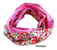 Snood liberty betsy grenadine et rose à pois : Echarpe, foulard, cravate par crocmyys