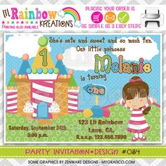 084 DIY Candyland 2 Party Invitation Or Thank by LilRbwKreations