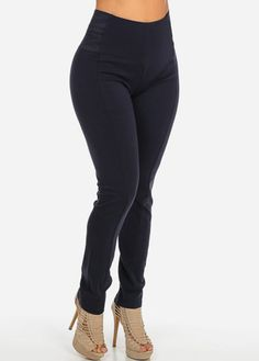 High Waisted Pants with Banded Sides (Navy)