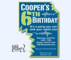 green and blue SHARK BITE invitation for shark themed party or pool party
