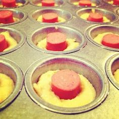 2 boxes jiffy corn muffin mix, 2 eggs, 2/3 cup milk and package of hot dogs cut into1 inch pieces. Fill mini tins half full, push in hot dog. 400* ~10-15 min.