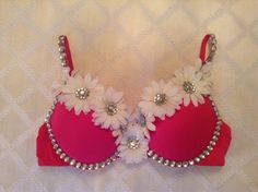 Pink and White Daisy Rave Bra by ChristinasRaveWear on Etsy, $40.00