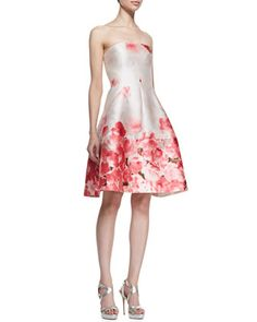 Lela Rose Seamed Floral Strapless Dress- Neiman Marcus