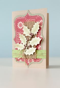DIY holiday card made with the Anna Griffin Holly Sprig Cricut Cuttlebug Cut & Emboss Die