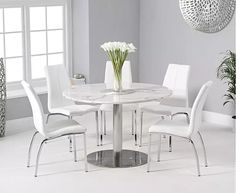 Bali Round White Marble Dining Table With Cavello Dining Chairs White Dining Table, Glass Round Dining Table, Dining Tables, Oak Furniture Superstore, White Marble, Faux Leather Dining Chairs, Chair Upholstery, Marble Effect, High Gloss