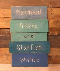 Mermaid Kisses and Starfish Wishes Sign - nursery decor, mermaid decor, girl bedroom sign by MandMRustics on Etsy