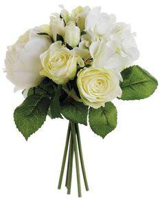 wedding ideas - white rose bouquet with green leaves - wedding blog ideas - Weddings by K'Mich in Philadelphia PA.