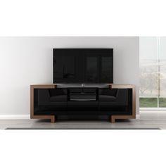 Furnitech Contemporary TV Console (Honey Oak and Black Lacquer)