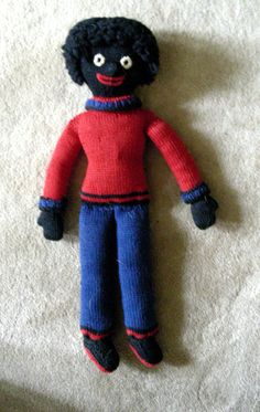 Vintage 40s Little Black Sambo Golliwog Doll Cloth Knitted Black Americana | eBay