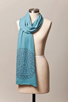 I love the pastels and neons popping up everywhere this year, but they just don't do my olive skin any favors.  We made these ocean blue scarves as our answer to softer Spring tones!  Dahlia scarf from Flytrap, $ 25