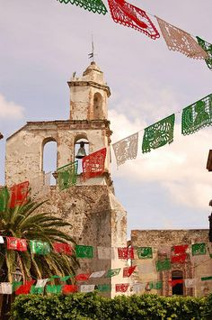 Old Church (and papel picado decorations), San Miguel de Allende, Mexico during Independence Day celebrations
