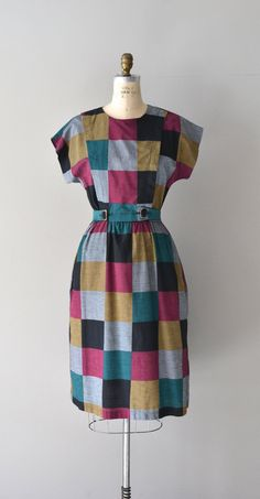 Colorboard dress / vintage 1980s color block dress / belted