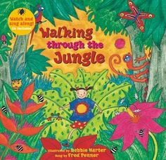 A great book to support the teaching of Phase One Phonics and general Speech and Language. With repetition, rhythm and rhyme the children quickly pick up the theme of the book and you will soon hear them retelling it or acting it out with their friends. Preschool Jungle, Preschool Music, Preschool Books, Jungle Crafts, Kindergarten Music, Preschool Themes, Safari Theme, Jungle Theme, Jungle Safari