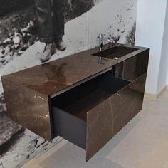 Machined natural stone furniture Honeycomb, Double Vanity, Natural Stones, Interiors, Bathroom, Furniture, Washroom, Full Bath, Honeycombs