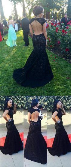 black lace long prom dress, 2017 prom dress, mermaid long prom dress with backless,evening dress