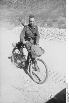 German soldier with bicycle and Gewehr 41 rifle, Balkan Peninsula, 1941