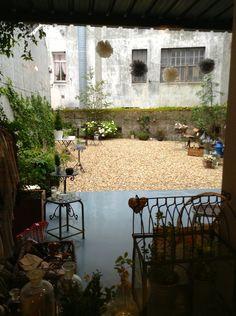 Vista del #jardin de #nelybelula desde dentro de la tienda en un día lluvioso típico de Galicia.
