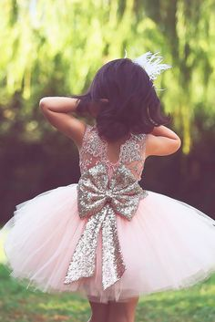 Must Haven 2018: 15 Lace Flower Girl Dresses ❤ blush tulle skirt lace flower girl dresses with big sparkle bows saidmhamad ❤ Full gallery: https://weddingdressesguide.com/lace-flower-girl-dresses/