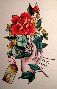 Old School Tattoo Girly ; Old School Tattoo Rose Tattoos, Flower Tattoos, Body Art Tattoos, New Tattoos, Tattoo Ink, Arm Tattoo, Traditional Tattoo Flowers, Traditional Tattoo Flash, Flower Tattoo Designs