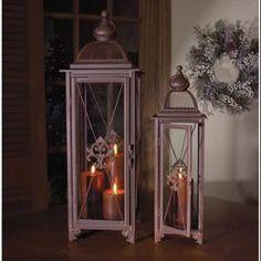 Set of 2 Rust Colored Fleur de Lis Sophisticated Pillar Candle Holder Lanterns